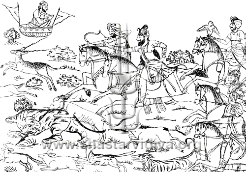Sketch depicting Guru Gonbind Singh hunting with his warrior Sikhs, circa mid 19th century, Punjab