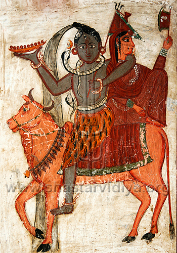 Shiva and consort seated on Nandi, fresco, Dehradun, India