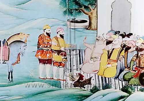Mehtab Singh and Sukha Singh return with the head of Massa Ranghar, circa 1875, Punjab