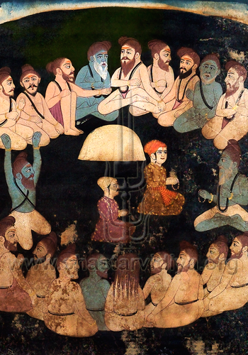 Guru Nanak in the company of Sadhus, Bhai Rupa collection, Punjab
