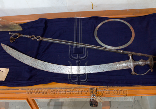 Tegha (sword), Chakram (quoit), and Chimta (pincher) belonging to Guru Nanak, Patna, India