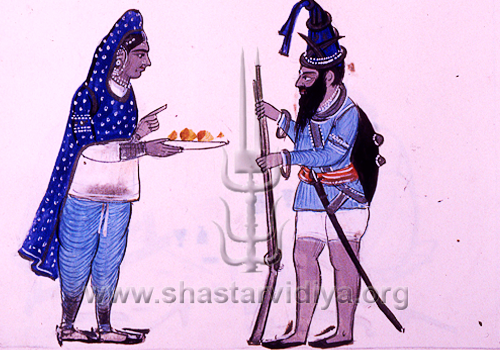 Bhujangi Akali Nihang with his wife, mid 19th century, Punjab