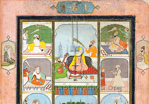 Manuscript illustrating the Sikh Gurus. A detail to note is the image above Guru Nanak (centre) depicting Hanuman, Chandi, and Rudra, early 19th century, Delhi Museum