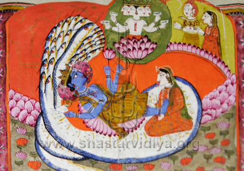 Vishnu resting on Sheshnaga, Sikh manuscript, circa 18th century, Hyderabad