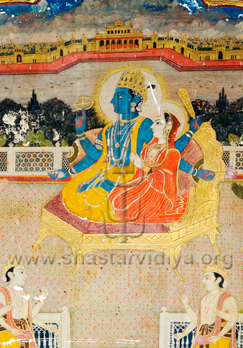 Lord Rama with his consort Sita, fresco, mid-19th century, Patila, Punjab